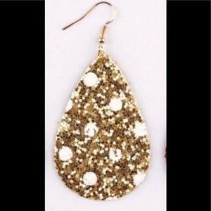 Gold Holiday Polka Dot Glitter Teardrop Earrings